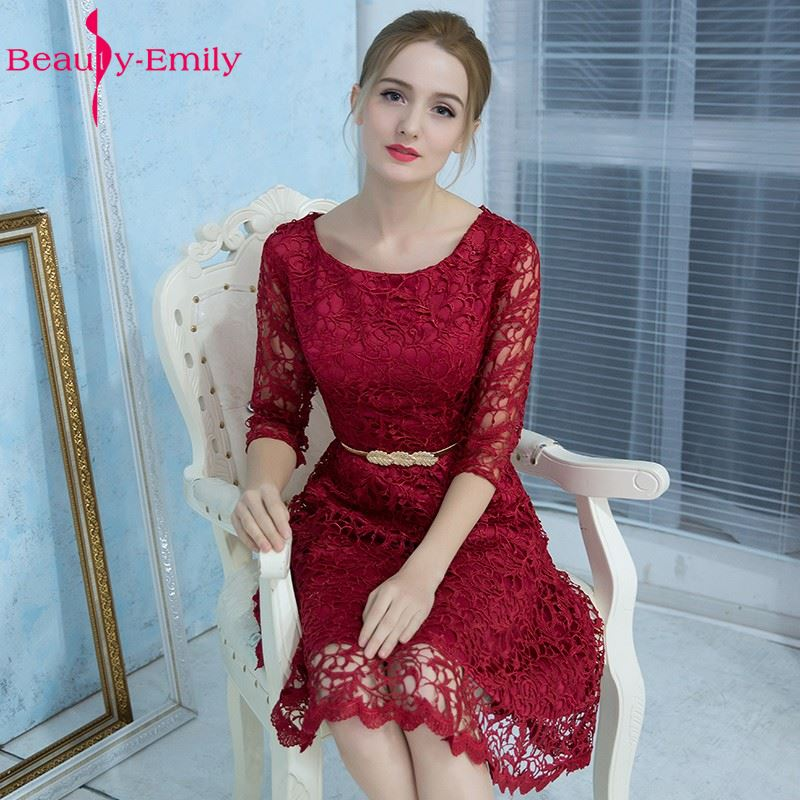 Beauty-Emily Elegant Wine Red Party Prom Dreses   Bridesmaid     Dresses   2017 Vestido de Festa A-line Half Sleeves vestido de noite
