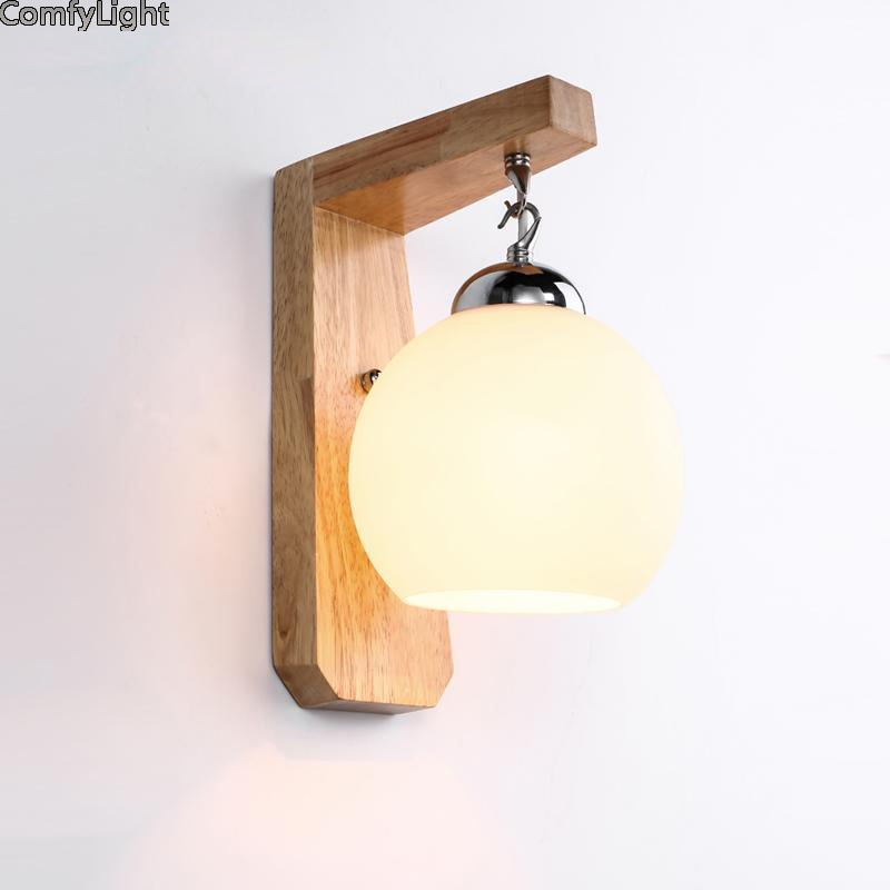 Modern Led Wall Lamp glass Sconces Indoor Stair Light Fixture Bedroom Bedside Living Room Home Hallway Loft wood Lampada LED E27 fashion rustic iron bedroom bedside wall light fixture home deco living room e27 wall lamp european vintage glass wall sconces
