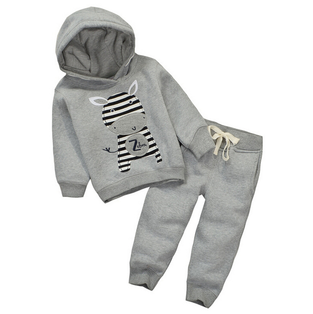 Momscare Spring Autumn Thick Brushed Children Clothing Set Boys Girls Hoodies + Pants Sport Causal Kids Suits Child Baby Clothes