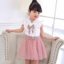 Комплект одежды для маленьких девочек, весна-лето, белая кружевная футболка с короткими рукавами и цветочным принтом, сетчатая юбка, одежда для детей 2, 3, 4, 5, 6, 7, 8 лет