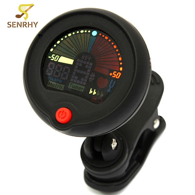 Digital LCD Clip-on Chromatic Tuner Metronome With Battery For Acoustic Guitar Bass Violin Banjo Mandolin Parts & Accessories  2 2 lcd digital tuner metronome for guitar bass violin black 2 x aaa
