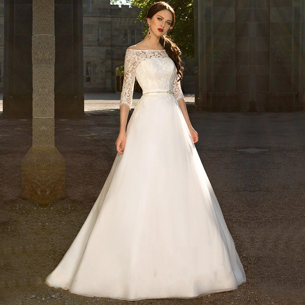 WD592 Romantic 2 Pieces Lace Wedding Dresses 2016 Boat