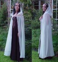 Women Bridal Cloaks Vintage Capes Chiffon Long Hoode Retro Wedding Jacket Wraps White Ivory Christmas Bride Coat Custom Make
