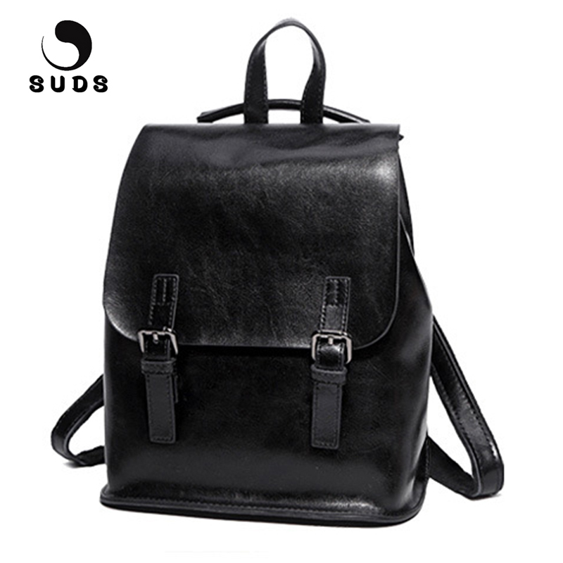 SUDS Brand Women New Fashion Genuine Leather Backpack High Quality Soft Cow Leather School Bags For Teenage Girls Rucksack Women suds brand women casual 100