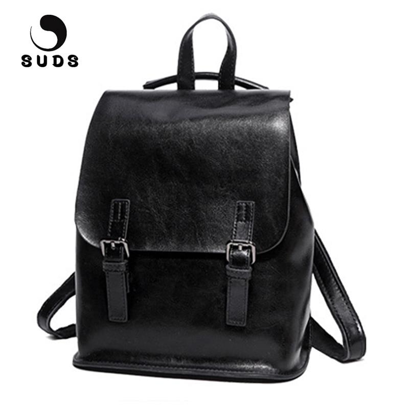 SUDS marque femmes nouvelle mode en cuir véritable sac à dos de haute qualité en cuir de vache souple sacs d'école pour les adolescentes sac à dos femmes