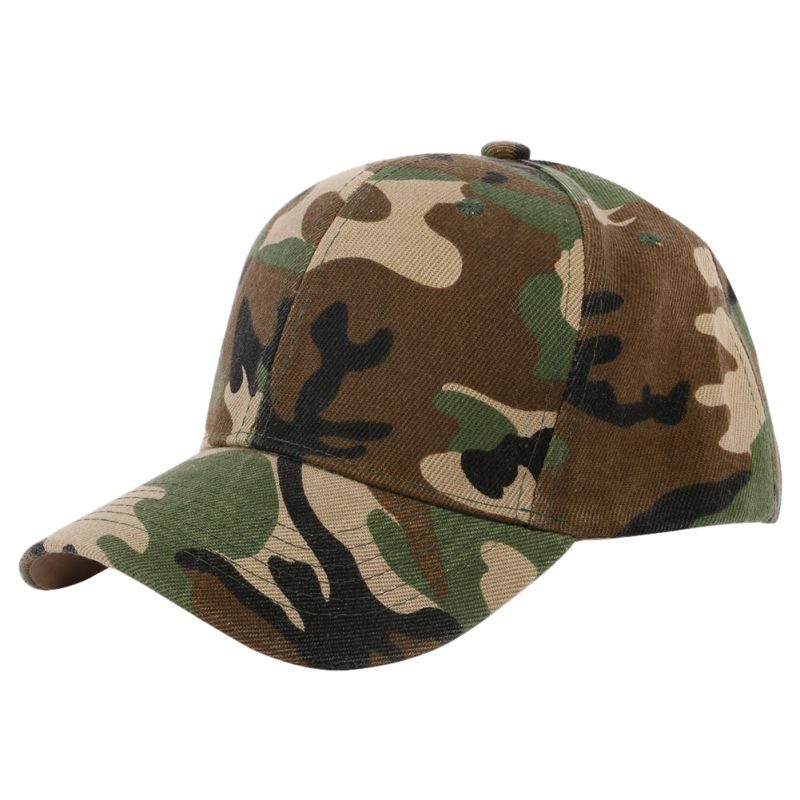 Men Women Camouflage Half Mesh Army Hat Baseball Cap Desert Jungle Snap Camo Cap Hats ...