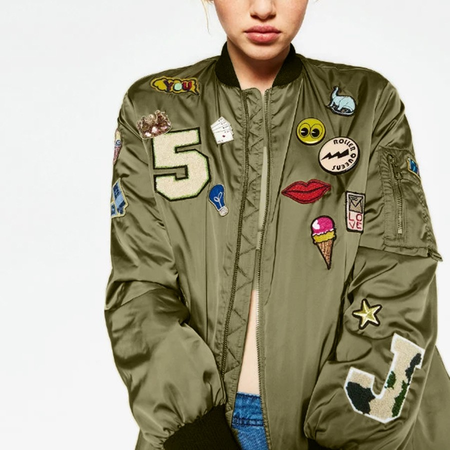 Punk Style Bomber Jacket Women 2017 Army Green Embroidered