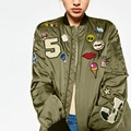 Punk Style Bomber Jacket Women 2017 Army Green Embroidered Cartton Letter PatternJacket Fashion Street Coat Casual Outerwear