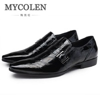 MYCOLEN Spring&Autumn Luxury Designer Business Shoes Leather Fashionable Crocodile Pattern Pointed Shoes Patent Leather Buckle