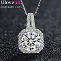 Uloveido Fashion Jewelry Crystal Pendant CZ Diamond Geometric Necklace Women Rhinestone Silver Necklaces Pendants 5% off DML116