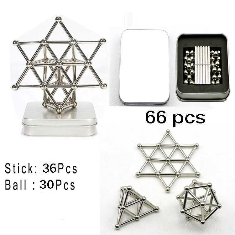 Sticks Magnets Metal Balls Magic Building Blocks Puzzle Toy Set Construction New