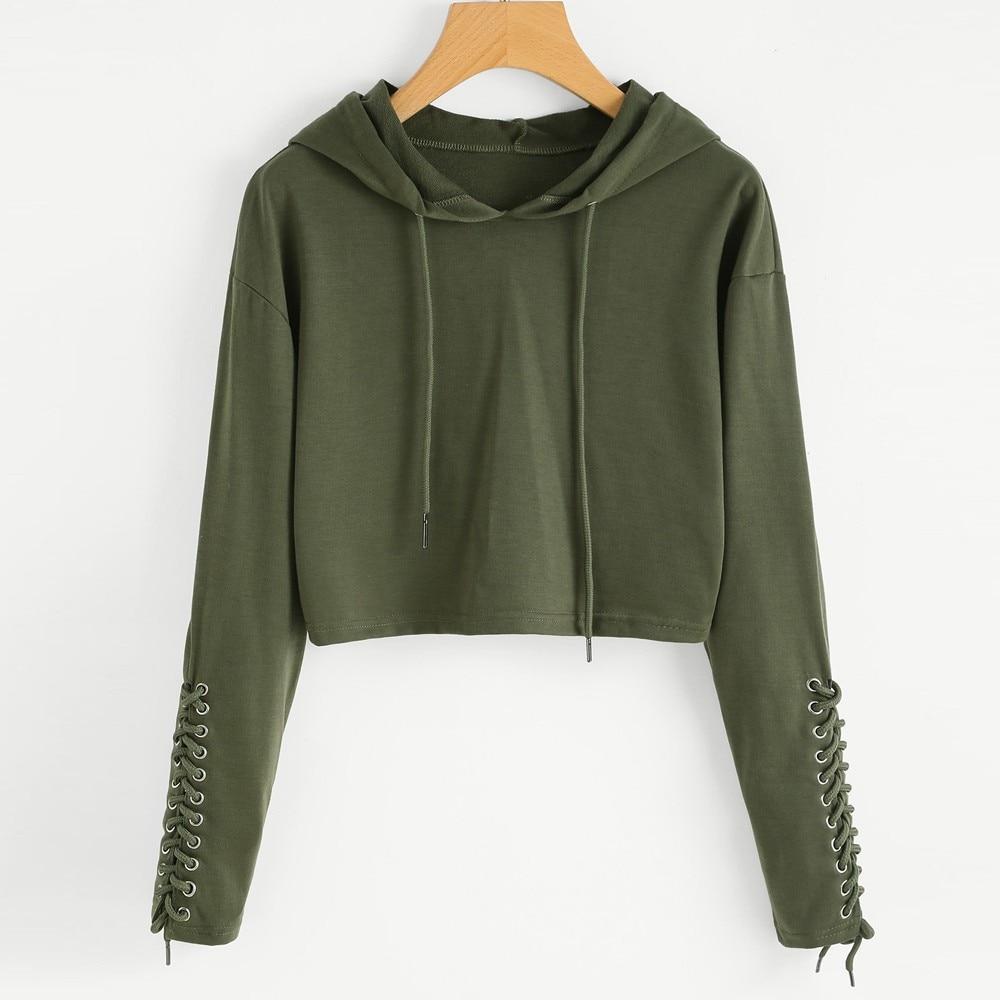 Women Hoodie Sweatshirt Long Sleeve Bandage Crop Top Coat Sports Pullover Tops