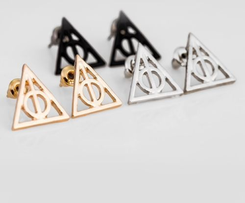 Harry Magic School Potter DEATHLY HALLOWS Stud Earrings Cosplay Accessories