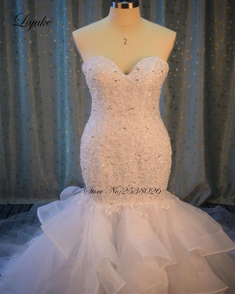 Av axeln Sweetheart Neckline Mermaid Wedding Dress 2017 Ansikter - Bröllopsklänningar - Foto 2