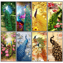 5D DIY Diamond Painting Animal Peacock Pattern Cross Stitch Round Full Shape / Embroidery