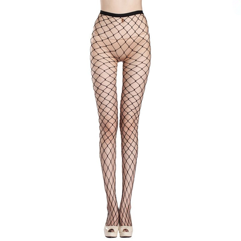 Women Fishnet Pattern Lady Nylon High Waist Leggings Fish Net Hollow Out Sexy Female Mesh Black 2018