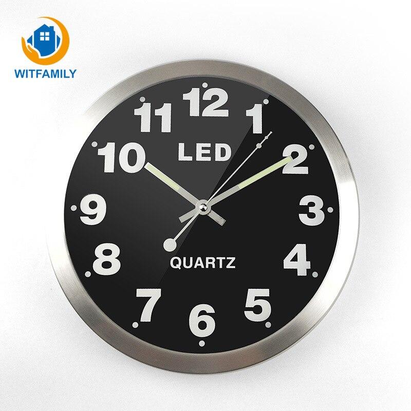 12 Inch Simple Digital Metal LED Lights Fluorescent Luminous Clock Home Decoration Wall Clock Living Room Bedroom Watch