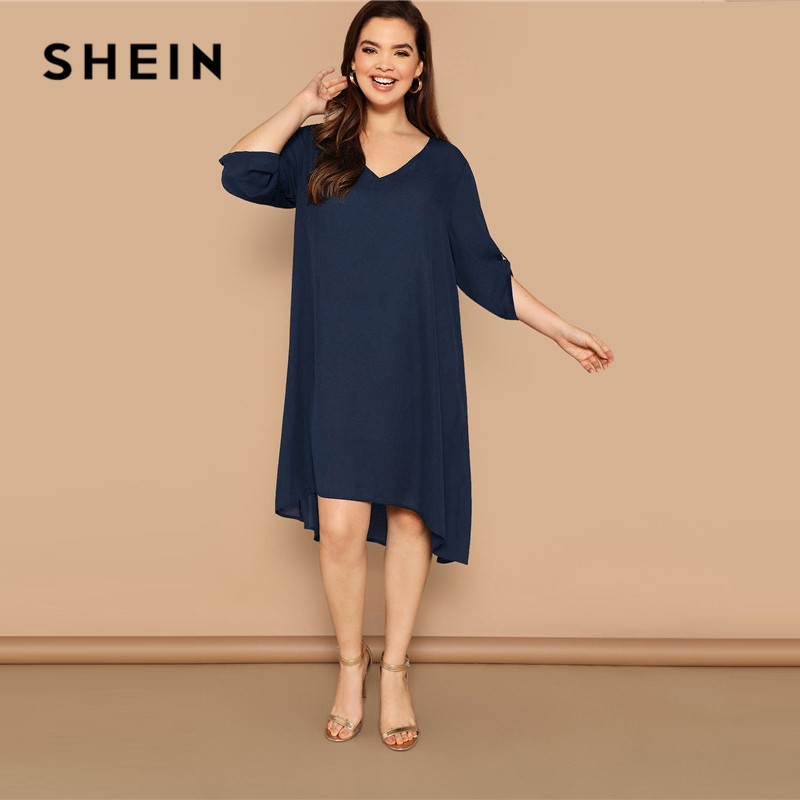c11852fdad878 SHEIN Plus Size Navy Roll-Up Sleeve Dip Hem Tunic Dress 2019 Women Spring  Summer Casual Shift Button Straight V neck Dresses