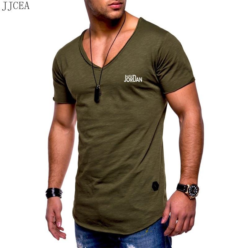 Newest 2019 Summer Men T-shirt Fashion Brand Logo Print Cotton T shirt Men Trend Vneck Short Scoop Hem Slim Fit Tshirt Tops tee
