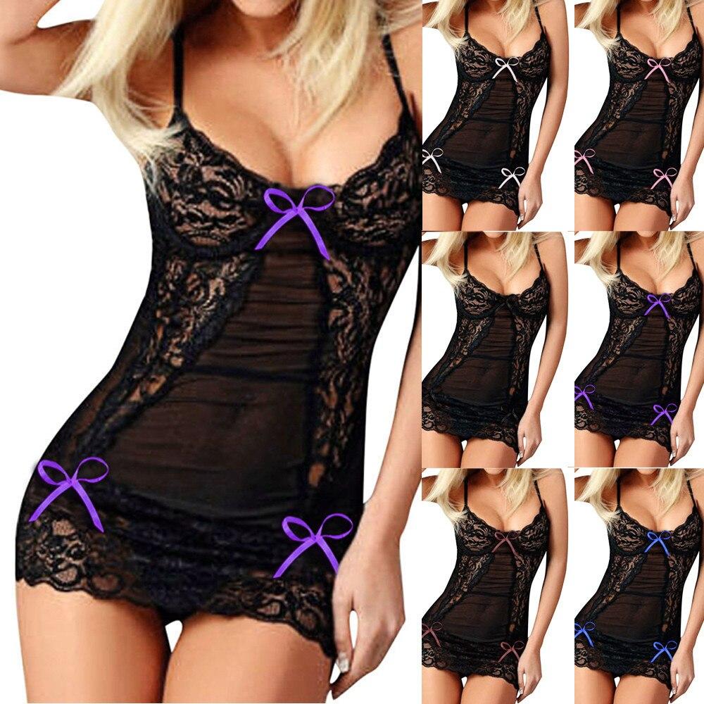Fashion Women Sexy Sleepwear Bow Lace Racy Underwear Spice Suit Temptation Nightwear Nightdress