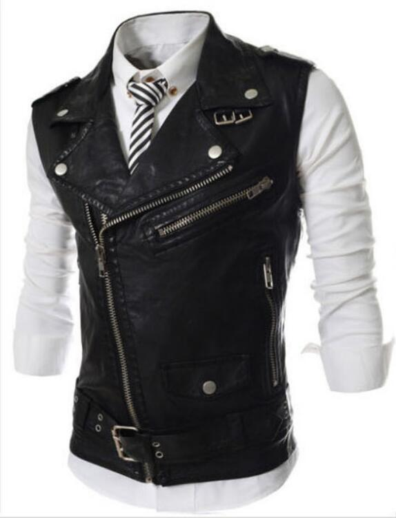 Vest Men Punk Sleeveless Fashion Slim-Fit Motorcycle High-Quality