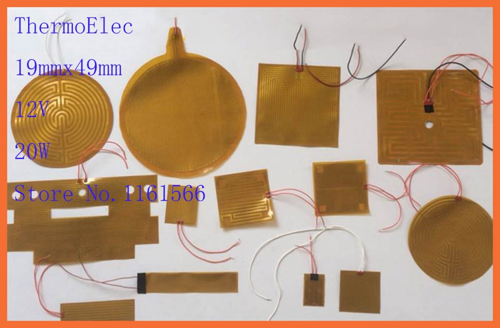19mmx49mm 12V 20W element heating PI film polyimide heater heat rubber electric Thermal coefficient heating element 3D print mat dia 400mm 900w 120v 3m ntc 100k round tank silicone heater huge 3d printer build plate heated bed electric heating plate element