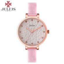 2016 женщин платье Австрийский горный хрусталь часы Женщины моды случайные кварцевые часы кожа наручные часы Известный Julius 810 часы tag