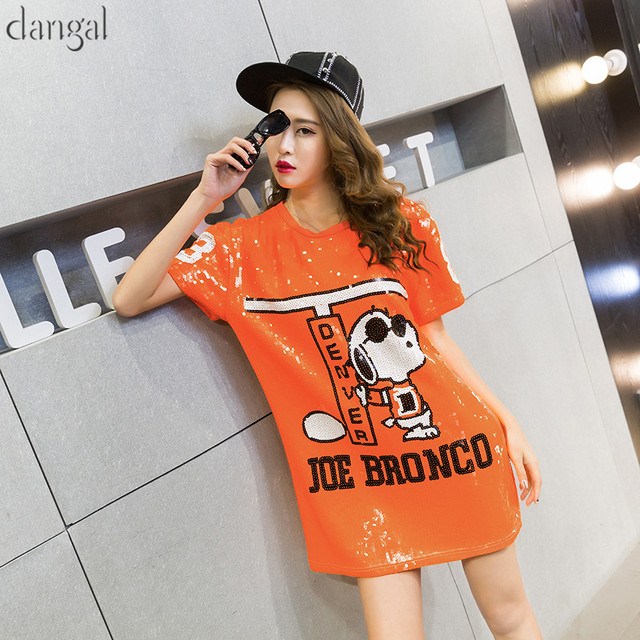 Cartoon Sequin T-shirt 2018 Fashion Hip Hop Bling T-shirt Orange Loose T-shirt  Women Street T Shirt For Stage Dance Club Party cec83a6bf932