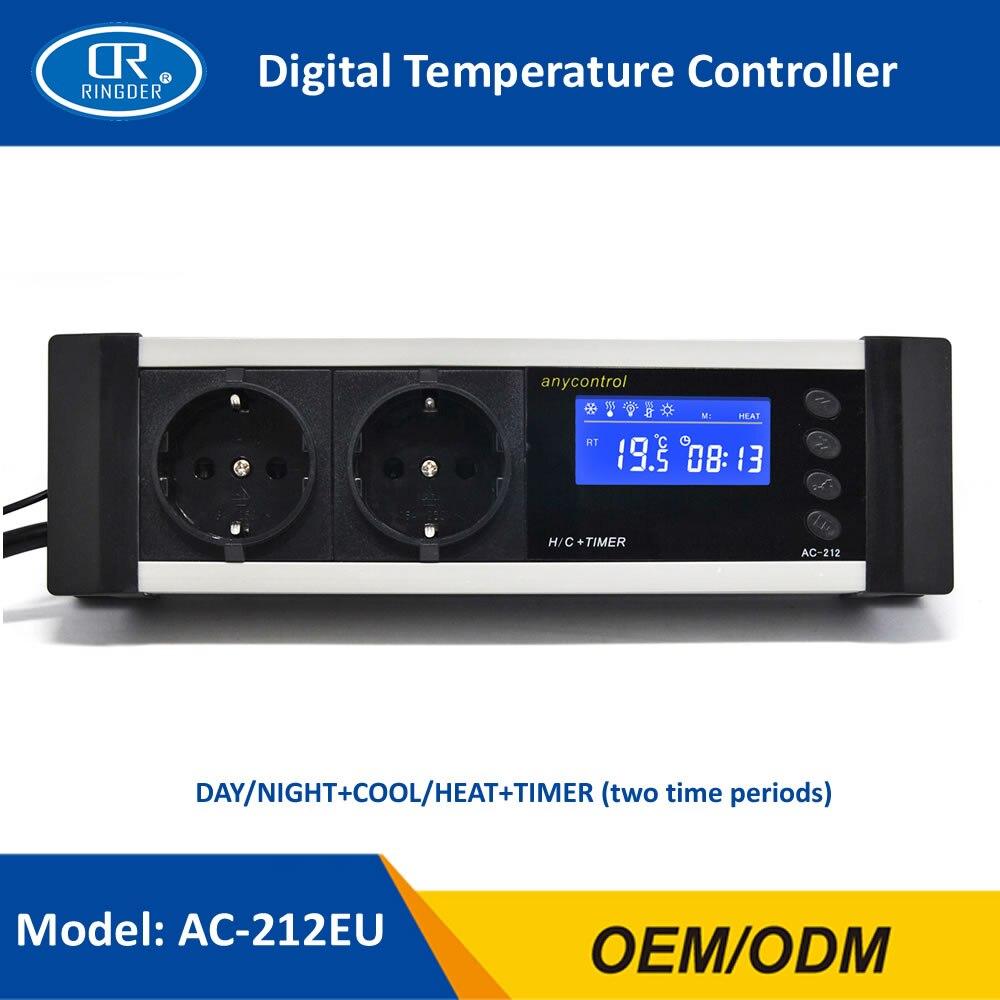 RINGDER AC-212 0-50C Jour/nuit SUR LE Numérique Reptile Thermostat avec Minuterie Régulateur Animaux Amphibiens Température Contrôleur