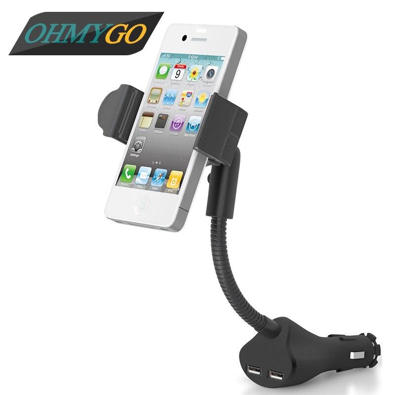 imágenes para Sostenedor del teléfono del coche del montaje del soporte para samsung galaxy s3 iphone 5 5s 5C HTC Sony Xpreia Z1 GPS Cargador USB soporte Para Teléfonos Móviles