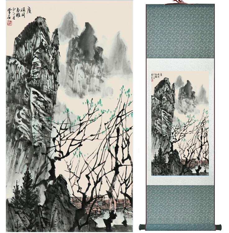 Mountain and River painting Chinese scroll painting landscape art painting home decoration picture 041710