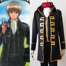 Anime GINTAMA Cosplay Costume Okita Sougo Halloween Party Clothing  Jackets+Pants+Vest+scarf+Patch