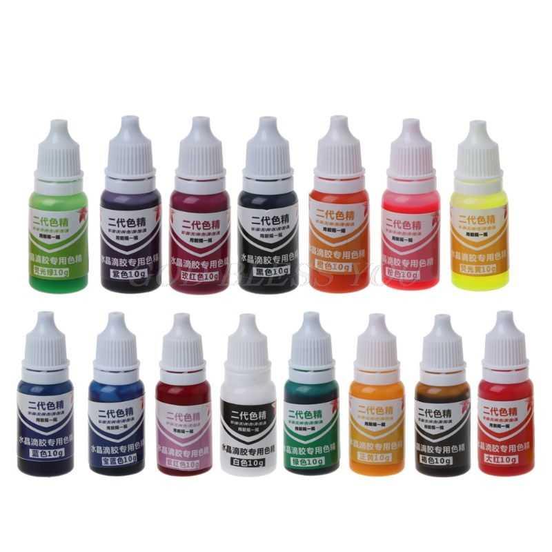 15 цветов, 10 мл, 15 цветов, эпоксидная УФ-смола, цвет, муравьиная бижутерия, жидкий пигмент для ванны, бомба, мыло, краситель, мыло ручной работы, цветной порошок