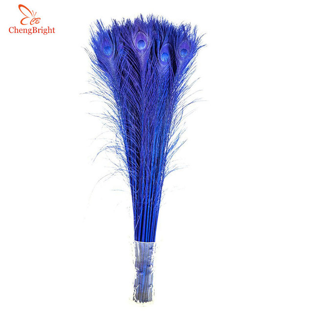 Chengbright 50 Pcs Lot 70 80cm 28 32 Inch Royal Blue Bright Color Pea Feathers Diy Feather Decoration Plume