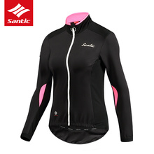 Santic Spring Autumn Women Fleece Cycling Jerseys Autumn Winter Fleece Windproof Mtb Road Bicycle Jacket Thermal Long Sleeve
