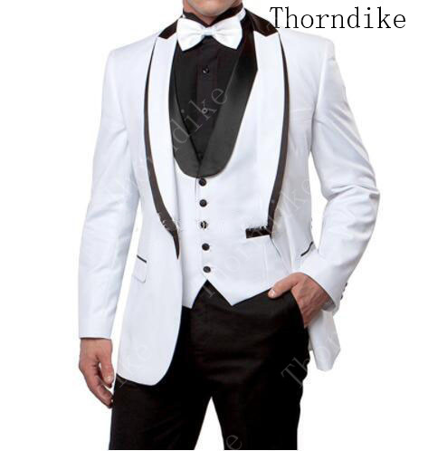 Thorndike Handsome Shawl Lapel Groomsmen Tuxedos Men Suits for Wedding Prom Business Dinner Best Man Blazer(Jacket+Pants+Vest)(China)