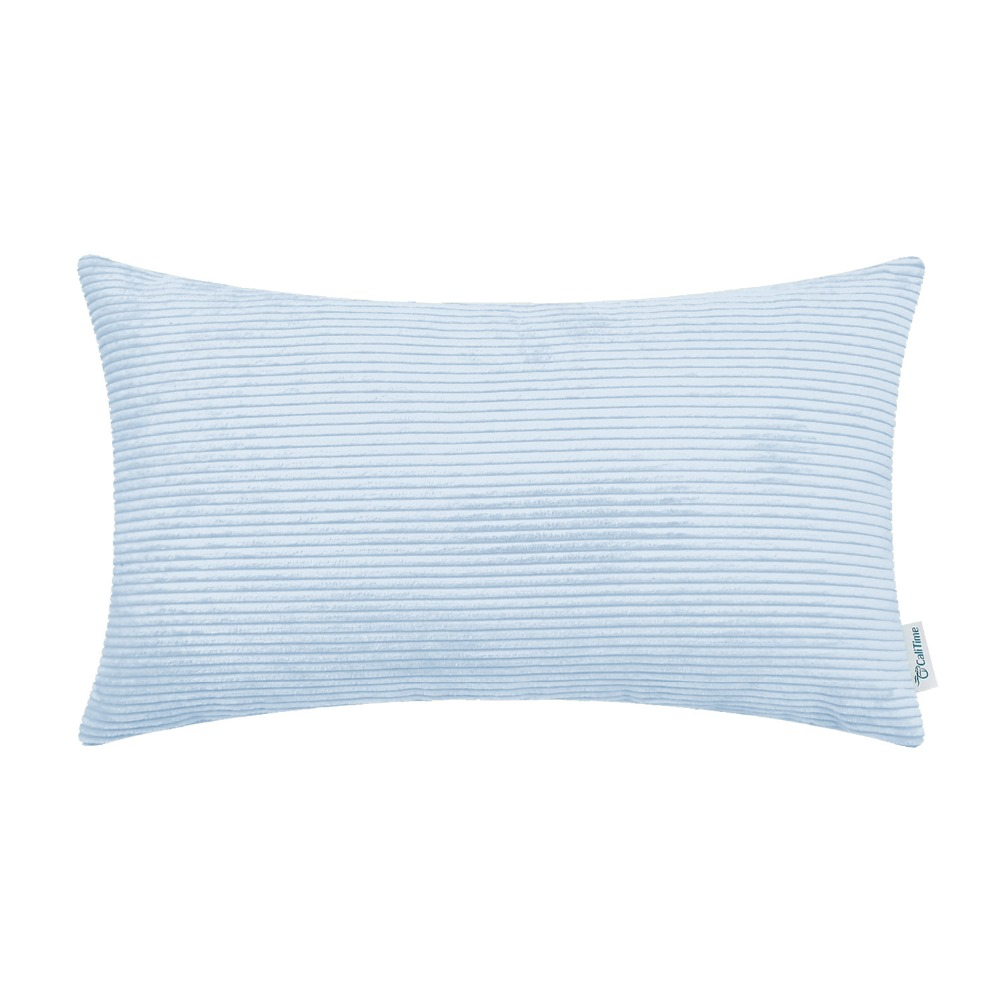 2PCS Square CaliTime Cushion Cover Pillows Shell Home Sofa Decor Corduroy Striped Super Soft Comfortable 12X20 Baby Blue