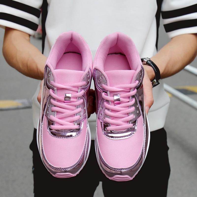 Zapatillas Casual Femeninos Tenis Mujer rosado Transpirable Cesta oro Zapatos Cordones Moda Con De Planos Negro Recoisin 2018 plata 5wOf88