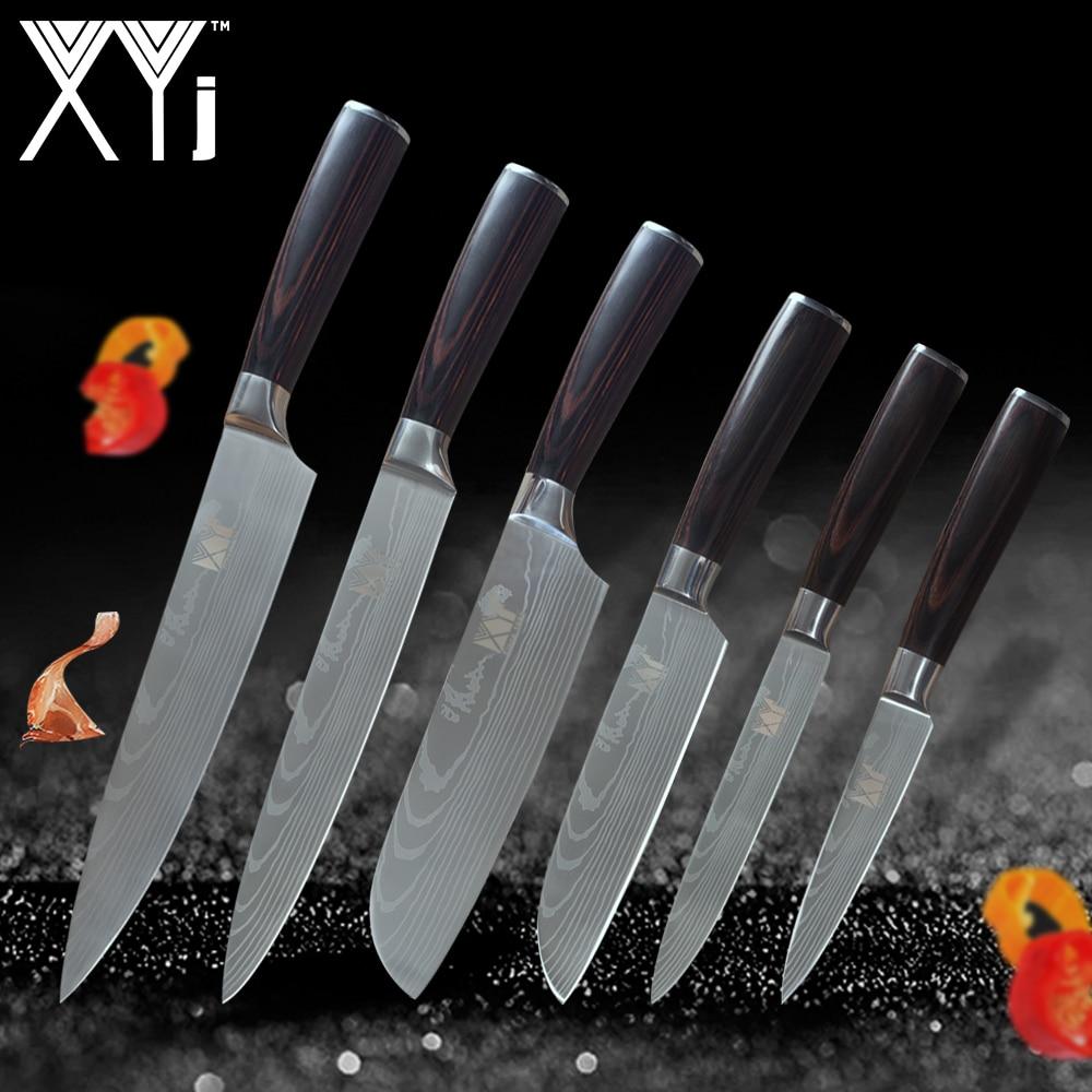 XYj Cuisine Outils En Acier Inoxydable Couteaux Ensemble Fruits Utilitaire Santoku Chef À Trancher Léger Poignée Joli Motif de Cuisson Outils