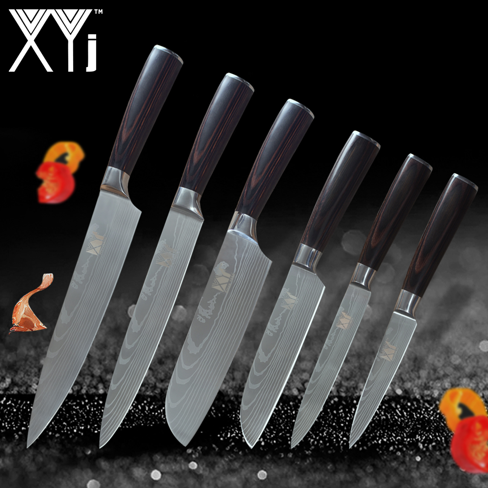 XYj Kitchen Tools Stainless Steel Knives Set  Fruit Utility Santoku Chef Slicing Lightweight Handle Nice Pattern Cooking ToolsXYj Kitchen Tools Stainless Steel Knives Set  Fruit Utility Santoku Chef Slicing Lightweight Handle Nice Pattern Cooking Tools
