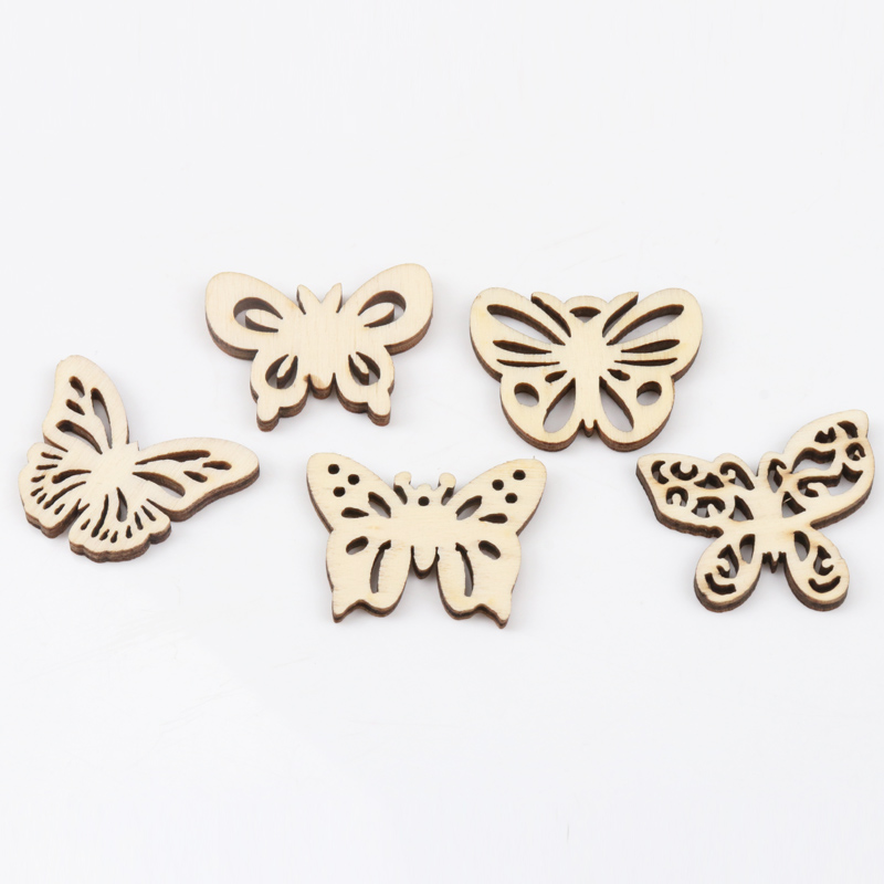 Natual Butterfly Pattern Wooden Scrapbooking Art Collection Craft For Handmade Accessory Sewing Home 30mm 20pcs MZ168-FD