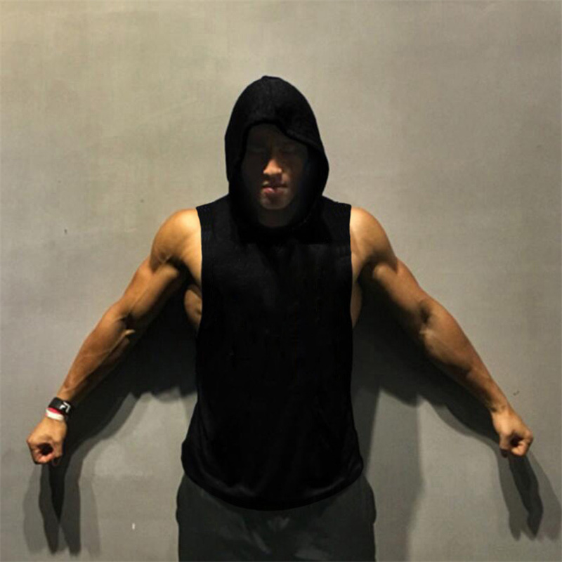 Brand Clothing Mens Workout Hooded   Tank     Tops   Muscle Sleeveless Shirt Gyms Hoodies Bodybuilding and Fitness Stringer Vest