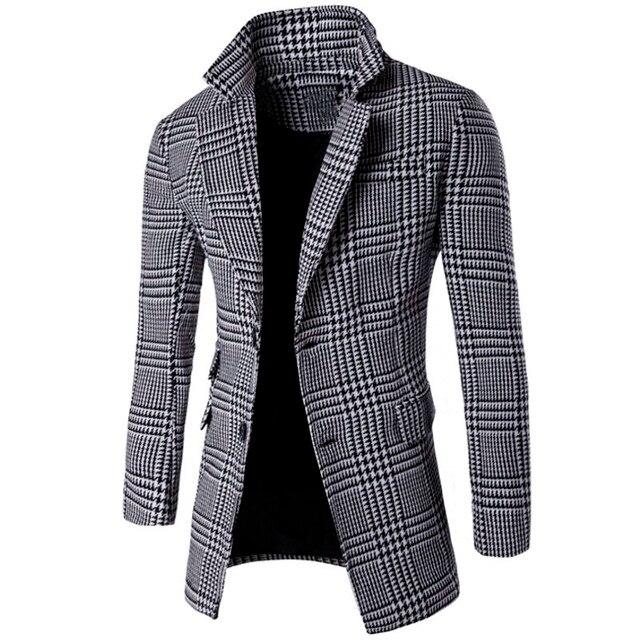 2016 Nuevos Hombres de la Llegada Blazers capa del Collar Traje Cruzado A Cuadros de Moda Delgado Larga Sección Cazadora Personalidad Más Tamaño