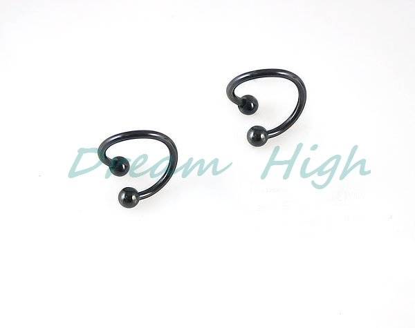 New Style Titanium Spirals Blue Black Ear Navel Ring Labret Ring Jewelry 100pcs/lot Free Shipping