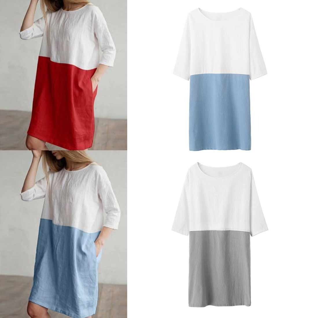 Dress Women Casual Patchwork 1/2 Sleeved Cotton Linen Oversize Loose Pockets Tunic dress women