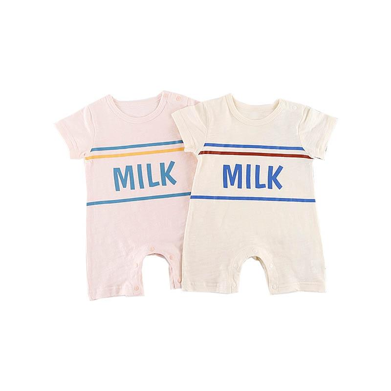 Newborn Baby Romper Summer Short Sleeve Infant Bebes Boys Girls Letter Print Rompers Toddler Kids Jumpsuit Infantil Clothes