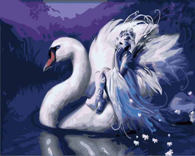 Hq Putih Peri Swan Cinta Lukisan Dengan Nomor Cat Pada Kanvas