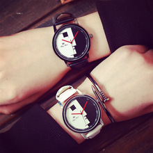 100% New Summary Draw White Black Leather-based Shockproof Quartz Watch Wristwatch Time for Girls Males College students