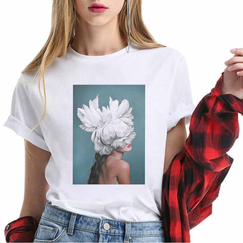 女性の夏のファッションフォローストリートトップス白、グレー、黒 Tシャツ美学花フェザープリント原宿カジュアル Tシャツ