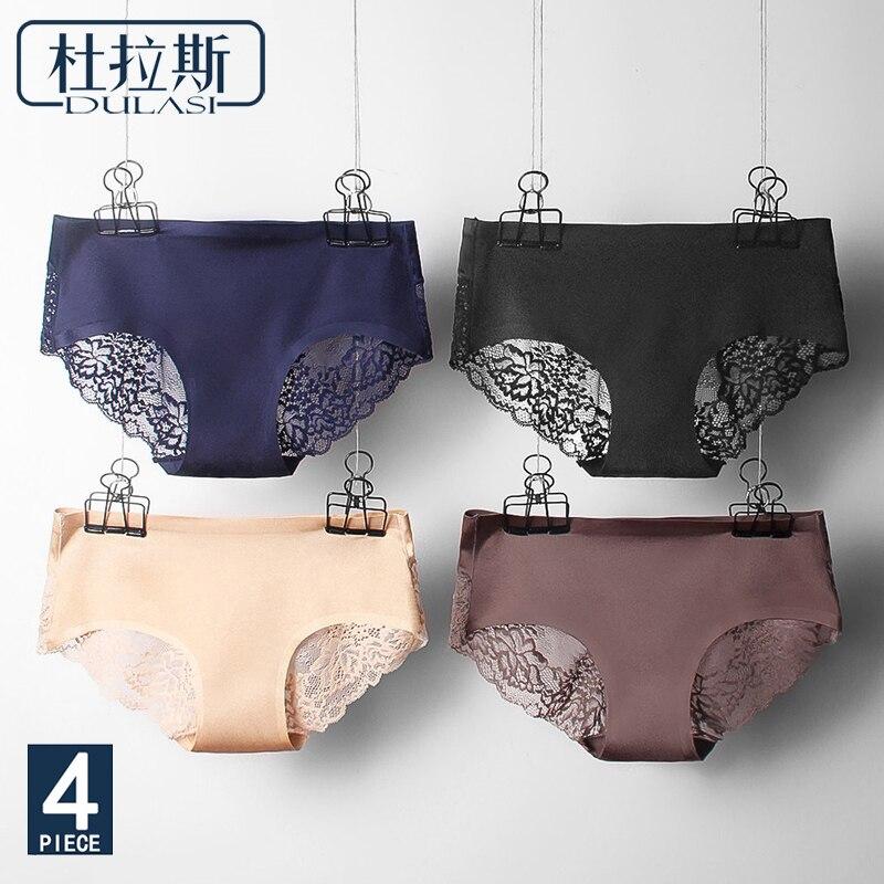 Sexy Panties Lace Women Underwear Seamless Silk Briefs Girls Ladies Underpants Satin -9815